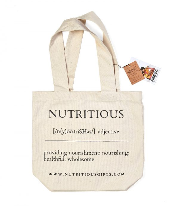 "Organic tote bag ""Nutritious"" healthy fitness - farmers market or reusable grocery bag"